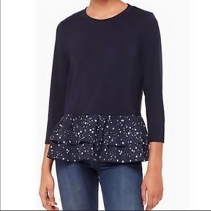 Kate Spade long sleeved blouse with ruffle